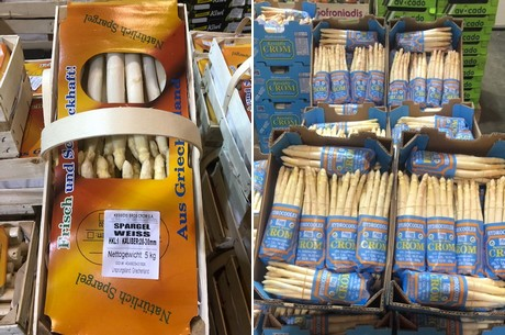 First arrival of Greek asparagus in Munich wholesale market hall